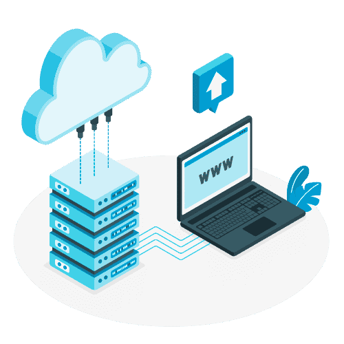 Ilustración funcionamiento de un Hosting web profesional