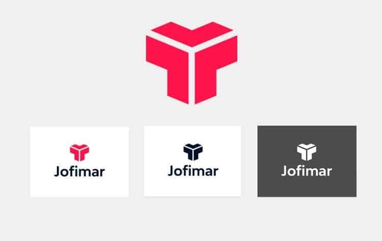 Imagen del manual corporativo de Jofimar - Aplicaciones del logo