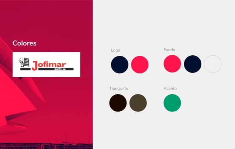 Imagen del manual corporativo de Jofimar - Colores